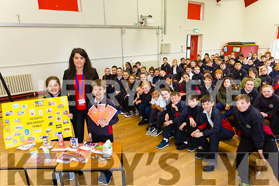 Scoil Eoin Balloonagh. Active and health promotion week dietitian Melissa Costello with the help of Laphriadh Costello and Jack Costello are teaching pupils about the amount of sugar in Breakfast cereal on Thursday
