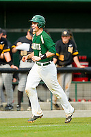 Brett Lang (6) of the Charlotte 49ers is all smiles as he heads towards home plate after hitting a walk-off solo home run on the first pitch in the bottom of the 9th inning against the Virginia Commonwealth Rams at Robert and Mariam Hayes Stadium on March 30, 2013 in Charlotte, North Carolina.  The 49ers defeated the Rams 9-8 in game one of a double-header.  (Brian Westerholt/Four Seam Images)