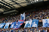Chelsea fans unfurl a mural in tribute to ex-players that have worked for them during the Premier League match between Chelsea and Sheff United at Stamford Bridge, London, England on 31 August 2019. Photo by Carlton Myrie / PRiME Media Images.