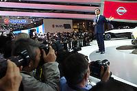 NOVEMBER 20, 2013 - TOKYO, JAPAN: Nissan Motor President Carlos Ghosn speaks during the press briefing at the Tokyo Motor Show 2013 at Tokyo Big Sight in Tokyo (Photo / Ko Sasaki  / sinopix)