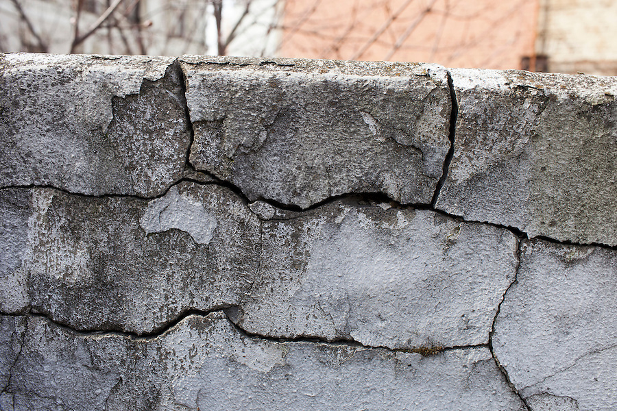 Moscow, Russia, 25/04/2013..New cracks in the exterior wall of the Melnikov House [1927-1929], the most famous construction by Soviet avant-garde architect Konstantin Melnikov, in central Moscow. The house, which is slowly collapsing, is the subject of a complex dispute between the architect's grand-daughter Ekaterina, who lives there and wants to turn it into a museum, her sister Elena, and businessman Sergei Gordeev.