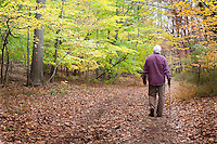 Hiker on the Franklin Parker Trail, Schiff Preserve, Mendham, New Jersey