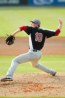 Hickory Crawdads starting pitcher Ryan Bores (10) in action against the Kannapolis Intimidators at CMC-Northeast Stadium on July 28, 2013 in Kannapolis, North Carolina.  The Crawdads defeated the Intimidators 6-1.  (Brian Westerholt/Four Seam Images)