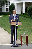 United States President Barack Obama makes a statement on the situation in Ukraine and Gaza at The White House in Washington, DC, Monday, July 21, 2014. <br /> Credit: Chris Kleponis / Pool via CNP