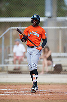 Miami Marlins Monte Harrison (21) during a Minor League Spring Training Intrasquad game on March 27, 2018 at the Roger Dean Stadium Complex in Jupiter, Florida.  (Mike Janes/Four Seam Images)