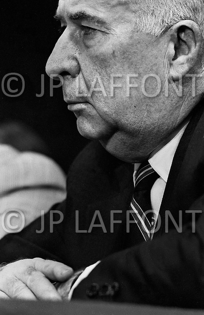 Washington DC,1973. John Mitchell, the former Attorney-General under President Nixon pictured while testifying before the Watergate Committee in Washington. A break in at the Democratic National Committee headquarters at the Watergate complex on June 17, 1972 results in one of the biggest political scandals the US government has ever seen.  Effects of the scandal ultimately led to the resignation of  President Richard Nixon, on August 9, 1974, the first and only resignation of any U.S. President.