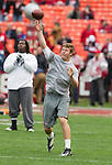 San Francisco 49ers backup quarterback Scott Tolzien (3) throws a pass during warmups prior to an NFC Championship NFL football game against the New York Giants on January 22, 2012 in San Francisco, California. The Giants won 20-17 in overtime. (AP Photo/David Stluka)