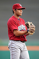 Lehigh Valley IronPigs third baseman Chris Aguila during a game vs. the Buffalo Bisons at Coca-Cola Field in Buffalo, New York;  August 1, 2010.  Buffalo defeated Lehigh Valley 2-1 in 10 innings.  Photo By Mike Janes/Four Seam Images