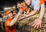 Clemson head coach Dabo Swinney celebrates defeating Florida State 37-35 in an NCAA college football game in Tallahassee, Fla., Saturday, Oct. 29, 2016. (AP Photo/Mark Wallheiser)