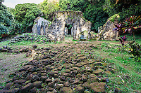 The stone walkway leading to the Kaniakapupu Ruins (or the King Kamehameha III Summer Palace), Nu'uanu Valley, O'ahu.