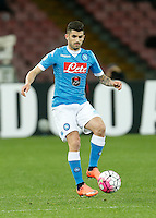 Elseid Hysaj  during the  italian serie a soccer match,between SSC Napoli and Chievo Verona      at  the San  Paolo   stadium in Naples  Italy , March 05, 2016<br /> Napoli won  3 - 1