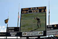 07 November 2009: The Folsom Field jumbotron as Colorado kicker Aric Goodman kicks off during a Big XII conference game between the Texas A&M Aggies and the University of Colorado Buffaloes at Folsom Field in Boulder, Colorado. Flags were flown at half mast to recognize tragedies at Fort Hood and Orlando during the week. The Buffs beat the Aggies 35-34.  *****For editorial use only*****