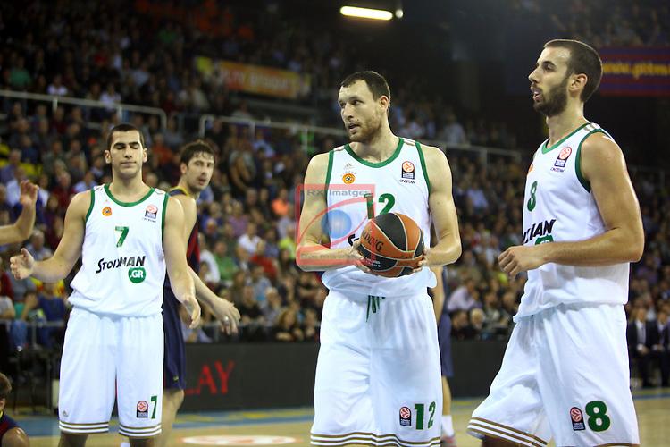 Euroleague Basketball-Regular Season Round 5.<br /> FC Barcelona vs Panathinaikos Athens: 78-69.<br /> Bochoridis, Loukas Mavrokefalidis &amp; Vlantimir Giankovits.