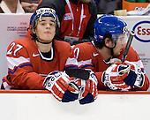 Petr Strapac (Czech Republic - 27), Roman Szturc (Czech Republic - 20) - The US defeated the Czech Republic 4-3 on Sunday, December 28, 2008, at Scotiabank Place in Kanata (Ottawa), Ontario, during the 2009 World Junior Championship.