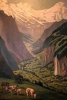 """Europe/Suisse/Saanenland/Env Gstaad/Flandruz: Galerie """"Allegri Antiquités"""" - Détail d'une toile représentant un paysage alpin"""