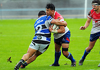 Romana Tutauha tackles Willie Paia'aua during the Mitre 10 Heartland Championship rugby union match between Horowhenua Kapiti and Wanganui at Levin Domain in Levin, New Zealand on Saturday, 7 October 2017. Photo: Dave Lintott / lintottphoto.co.nz