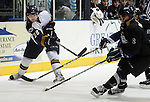 SIOUX FALLS, SD - JANUARY 1: Brent Darnell #28 of the Sioux Falls Stampede puts a shot on goal past Brian Cooper #2 from the Fargo Force in the first period of their game Saturday night at the Arena. (Photo by Dave Eggen/Inertia)