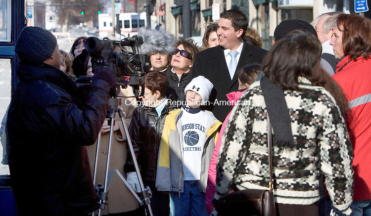 TORRINGTON, CT 12 January 2008-011209SV10--Mayor Ryan Bingham participates as an extra in the independent film &quot;A Dance With Grace&quot; being filmed by Tower Isle Productions in front of the Warner Theater in Torrington Monday.<br /> Steven Valenti Republican-American