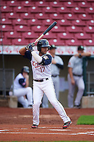 Cedar Rapids Kernels second baseman Rafael P Valera (17) at bat during a game against the Kane County Cougars on August 18, 2015 at Perfect Game Field in Cedar Rapids, Iowa.  Kane County defeated Cedar Rapids 1-0.  (Mike Janes/Four Seam Images)