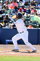 Huntsville Stars first baseman Shawn Zarraga (23) at bat during a game against the Mobile BayBears on April 23, 2014 at Joe Davis Stadium in Huntsville, Tennessee.  Huntsville defeated Mobile 4-1.  (Mike Janes/Four Seam Images)