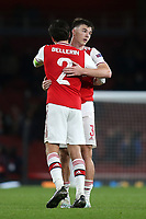 Kieran Tierney and Hector Bellerin of Arsenal embrace at the final whistle during Arsenal vs Standard Liege, UEFA Europa League Football at the Emirates Stadium on 3rd October 2019
