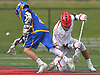 Dylan Pape #3 of West Islip, left, and Drew Martin #14 of Half Hollow Hills East battle for possession after a faceoff in a Suffolk County varsity boys lacrosse game at Half Hollow Hills High School East on Tuesday, May 9, 2017. Hills East rallied from an early 6-2 deficit to win 14-10.