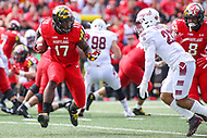 College Park, MD - September 15, 2018:  Maryland Terrapins tight end Chigoziem Okonkwo (17) runs the ball during the game between Temple and Maryland at  Capital One Field at Maryland Stadium in College Park, MD.  (Photo by Elliott Brown/Media Images International)