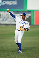 Jonathan McCray (3) of the Burlington Royals warms up in the outfield prior to the game against the Princeton Rays at Burlington Athletic Stadium on June 24, 2016 in Burlington, North Carolina.  The Rays defeated the Royals 16-2.  (Brian Westerholt/Four Seam Images)