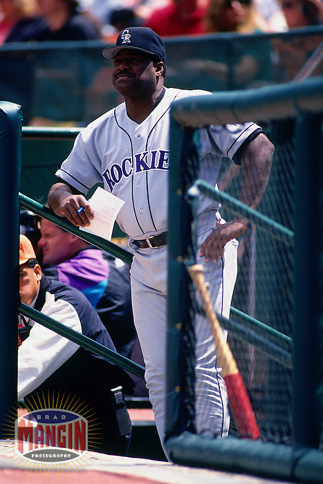 SAN FRANCISCO, CA - Manager Don Baylor of the Colorado Rockies watches his team from the dugout during a game against the San Francisco Giants at Candlestick Park in San Francisco, California in 1994. Photo by Brad Mangin
