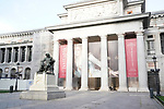 A woman walks with her dog next to the Velazquez statue and the history entrance of the Prado Museum during the health crisis due to the Covid-19 virus pandemic - Coronavirus. March 17,2019. (ALTERPHOTOS/Acero)