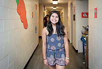 First-year profile: Ashley Nakagawa '22, Honolulu, HI<br /> Incoming first-years and their families are welcomed by enthusiastic O-Team members and other members of the community during Occidental College's Fall move-in and orientation for the class of 2022, Aug. 23, 2018.<br /> (Photo by Marc Campos, Occidental College Photographer)