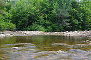 Confluence of the North and East Branches of the Pemigewasset River at North Fork Junction in the Pemigewasset Wilderness in Lincoln, New Hampshire. The foreground is the general location of where a trestle, along a spur line, of the East Branch & Lincoln Railroad (1893-1948) crossed the river.