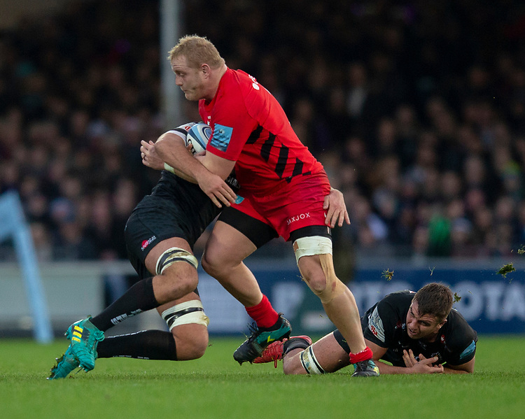 Saracens' Vincent Koch in action during todays match<br /> <br /> Photographer Bob Bradford/CameraSport<br /> <br /> Gallagher Premiership Round 10 - Exeter Chiefs v Saracens - Saturday 22nd December 2018 - Sandy Park - Exeter<br /> <br /> World Copyright © 2018 CameraSport. All rights reserved. 43 Linden Ave. Countesthorpe. Leicester. England. LE8 5PG - Tel: +44 (0) 116 277 4147 - admin@camerasport.com - www.camerasport.com