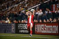 Western New York Flash midfielder Sarah Huffman (14) on a throw in. The Portland Thorns defeated the Western New York Flash 2-0 during the National Women's Soccer League (NWSL) finals at Sahlen's Stadium in Rochester, NY, on August 31, 2013.