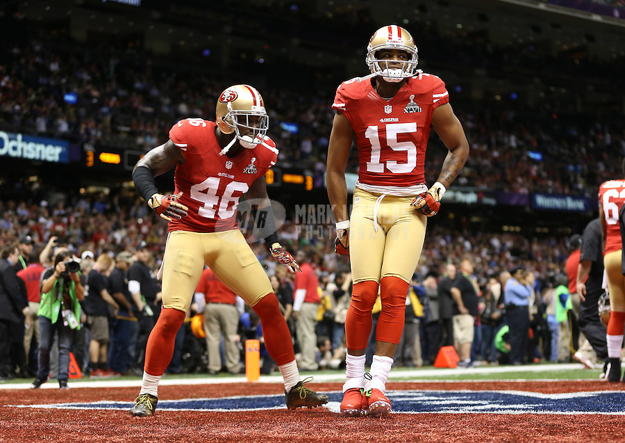Feb 3, 2013; New Orleans, LA, USA; San Francisco 49ers tight end Delanie Walker (46) and wide receiver Michael Crabtree (15) against the Baltimore Ravens in Super Bowl XLVII at the Mercedes-Benz Superdome. Mandatory Credit: Mark J. Rebilas-