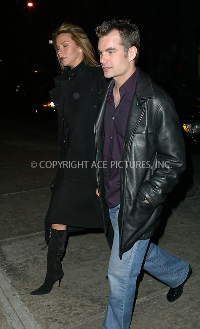 "NASCAR driver Jeff Gordon and his lovely wife arrive at a downtown restaurant for the ""Saturday Night Live"" after-party. The NASCAR star hosted this week's eposode of SNL. New York, January 11, 2003. Please byline: Alecsey Boldeskul/NY Photo Press.   ..*PAY-PER-USE*      ....NY Photo Press:  ..phone (646) 267-6913;   ..e-mail: info@nyphotopress.com"