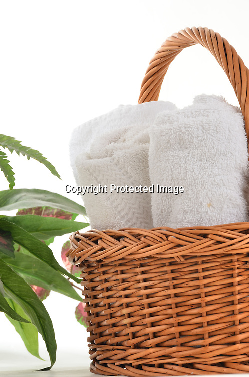 Stock photography towels and basket at spa