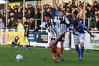 Conor Townsend of Grimsby Town is challenged by Ben Strevens of Eastleigh during the Vanarama National League match between Eastleigh and Grimsby Town at The Silverlake Stadium, Eastleigh, Hampshire on Nov 21, 2015. (Photo: Paul Paxford/PRiME)