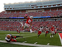 Ohio State Buckeyes tight end Marcus Baugh (85) jumps into the air to score a touchdown after a catch during the 2nd quarter at Ohio Stadium in Columbus, Ohio on October 7, 2017.  [Kyle Robertson/Dispatch]