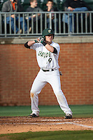 Alex Reynolds (19) of the Charlotte 49ers at bat against the Florida Atlantic Owls at Hayes Stadium on March 14, 2015 in Charlotte, North Carolina.  The Owls defeated the 49ers 8-3 in game one of a double header.  (Brian Westerholt/Four Seam Images)