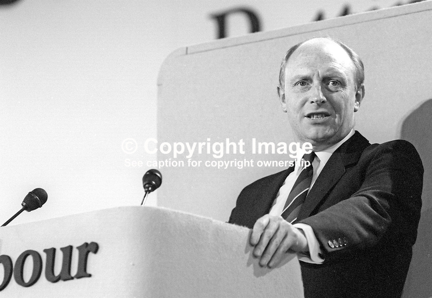 Neil Kinnock, leader, Labour Party, UK, speaking at his party's annual conference September 1986. 19860901NK8<br /> <br /> Copyright Image from Victor Patterson, 54 Dorchester Park, <br /> Belfast, UK, BT9 6RJ<br /> <br /> t1: +44 28 9066 1296 (from Rep of Ireland 048 9066 1296)<br /> t2: +44 28 9002 2446 (from Rep of Ireland 048 9002 2446)<br /> m: +44 7802 353836<br /> <br /> e1: victorpatterson@me.com<br /> e2: victorpatterson@gmail.com<br /> www.victorpatterson.com<br /> <br /> Please see my Terms and Conditions of Use at www.victorpatterson.com. It is IMPORTANT that you familiarise yourself with them.<br /> <br /> Images used on the Internet must be visibly watermarked i.e. &copy; Victor Patterson<br /> within the body of the image and copyright metadata must not be deleted. Images <br /> used on the Internet have a size restriction of 4kbs and will be chargeable at current<br />  NUJ rates unless agreed otherwise.<br /> <br /> This image is only available for the use of the download recipient i.e. television station, newspaper, magazine, book publisher, etc, and must not be passed on to any third <br /> party. It is also downloaded on condition that each and every usage is notified within 7 days to victorpatterson@me.com<br /> <br /> The right of Victor Patterson to be identified as the author is asserted in accordance with The Copyright Designs And Patents Act (1988). All moral rights are asserted.