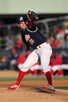 Reading Phillies pitcher David Buchanan #21 during a game against the Portland Seadogs at FirstEnergy Stadium on April 7, 2012 in Reading, Pennsylvania.  Reading defeated Portland 4-1.  (Mike Janes/Four Seam Images)