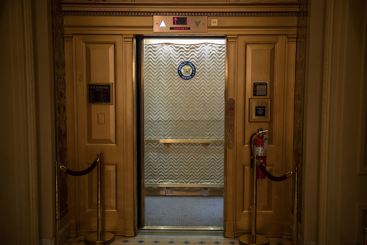 UNITED STATES - APRIL 18: A Senate side elevator in the Capitol is photographed on April 18, 2017. (Photo By Tom Williams/CQ Roll Call)