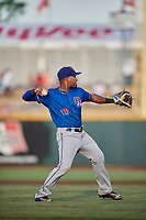 Andy Ibanez (10) of the Round Rock Express on defense against the Omaha Storm Chasers at Werner Park on May 27, 2018 in Papillion , Nebraska. Round Rock defeated Omaha 8-3. (Stephen Smith/Four Seam Images)