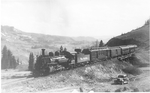 D&amp;RGW #476 with five-car San Juan approaching Cumbres from west.<br /> D&amp;RGW  Cumbres, CO  Taken by Perry, Otto C. - ca. 1940
