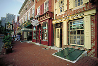 In the plaza at the east end of South Street historically restored rows of shops welcome shoppers. Philadelphia Pennsylvania United States Society Hill.