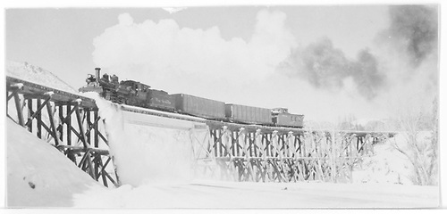Leased D&amp;RGW #464 with a northbound RGS freight on Bridge 160-A on 12-17-1951.<br /> RGS  Franklin Junction, CO  Taken by Richardson, Robert W. - 12/17/1951