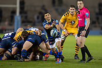 8th November 2019; AJ Bell Stadium, Salford, Lancashire, England; English Premiership Rugby, Sale Sharks versus Coventry Wasps; Embrose Papier of Sale Sharks  plays the ball back to his number 10 to clear - Editorial Use