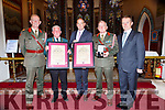 Irish United Nations Peacekeepers who were presented with the 2019 Monsignor Hugh O'Flaherty International Humanitarian Award in St Marys church Killarney on Tuesday evening front row l-r: Brigadier General Patrick Flynn, Jim Casey Chairman Irish Imagination Veterans Association, , Minister of Defence Paul Kehoe, Major General Kieran Brennan, and Maurice Quinn Dept of Defence