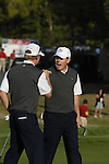 USA Team players Justin Leonard and Hunter Mahan rejoice after sinking their putt to square their match on the 4th green during the Morning Foursomes on Day1 of the Ryder Cup at Valhalla Golf Club, Louisville, Kentucky, USA, 19th September 2008 (Photo by Eoin Clarke/GOLFFILE)